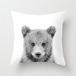 Baby Bear Black & White, Woodland Nursery Decor, Baby Animals Art Print by Synplus Throw Pillow