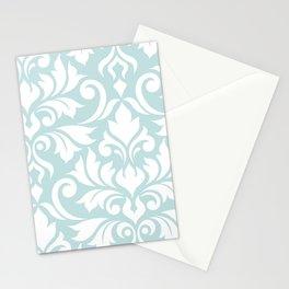 Flourish Damask Art I White on Duck Egg Blue Stationery Cards