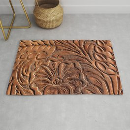 Vintage Worn Tooled Leather Rug