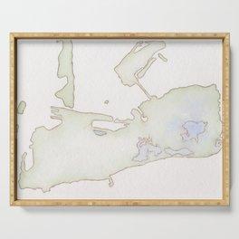 Cayo Hueso Watercolor Map Serving Tray