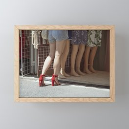 Retro style sexy woman in red high heel shoes in a street Framed Mini Art Print