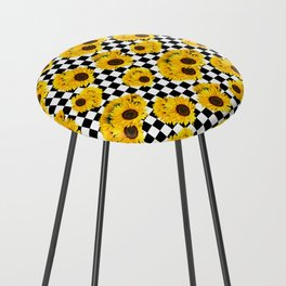 Yellow Sunflower Floral with Black and White Checkered Summer Print Counter Stool