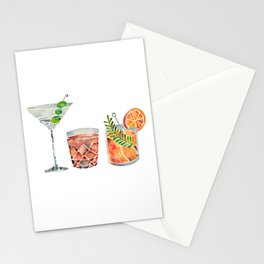 Classic Cocktails  – 1960s Watercolor Lineup Stationery Cards