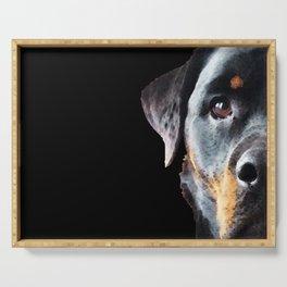 Rottie Love - Rottweiler Art By Sharon Cummings Serving Tray