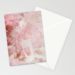 Vintage Floral Rose Roses painterly pattern in pink Stationery Cards