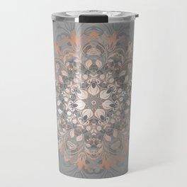 Rose Gold Gray Floral Mandala Travel Mug