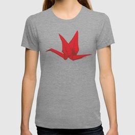 Origami red paper cranes sketch. burgundy maroon line Nature oriental T-shirt