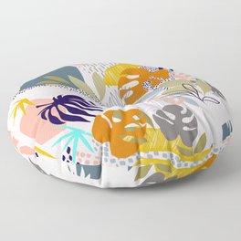 Tropical Retro Boho Foliage Pattern - Pink Floor Pillow