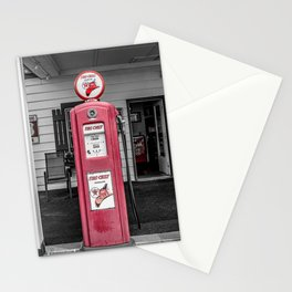 Vintage Route 66 Antique Fire Chief Red Gas Pump Stationery Cards