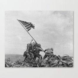 American Troops raising American flag on Mount Suribachi, Iwo Jima, 23 February 1945 Canvas Print