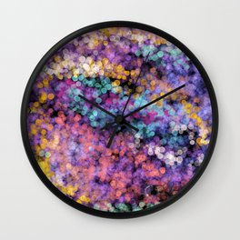 Modern abstract lavender teal watercolor bokeh Wall Clock
