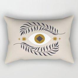 Mid Century Magic Minimalist Trendy Mystical Eye Plant Leaves Neutral Tones Bohemian Symbol Astrological Style Rectangular Pillow