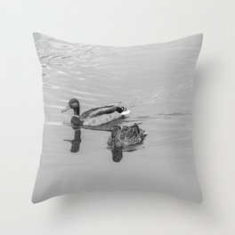 Hen and drake ducks on the River Bure Throw Pillow