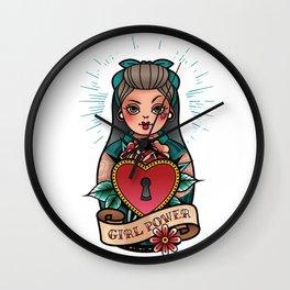 Rockabilly pin up girl tattoo Wall Clock