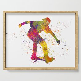 Boy on skateboard illustrated in watercolor 02 Serving Tray