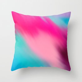 Artistic abstract pink aqua teal watercolor brushstrokes Throw Pillow