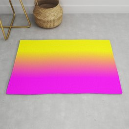Neon Yellow and Bright Hot Pink Ombré  Shade Color Fade Rug