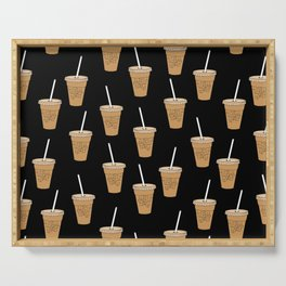 Iced Coffees pattern - food pattern, cute food, iced coffee lover Serving Tray