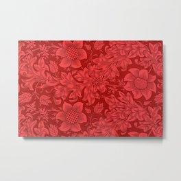 William Morris Red Tuscan Sunflower Textile Floral Pattern Metal Print