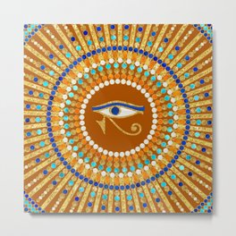 Eye of Thoth with Mandala Inspired By Ancient Egyptian Necklace Metal Print