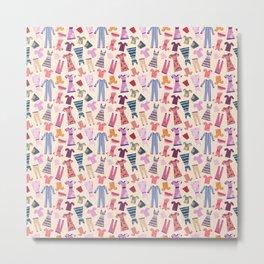 Dress Papercut Pattern - baby Yellow Metal Print