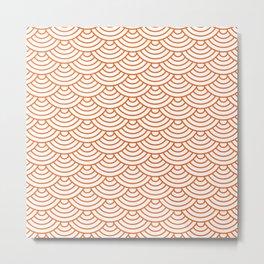 Orange Japanese wave pattern Metal Print