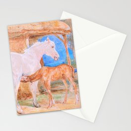 Gray Mare And A Chestnut Foal - John Frederick Lewis Stationery Cards