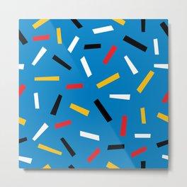 Confetti Pattern Black Yellow Blue Print Memphis Style Metal Print