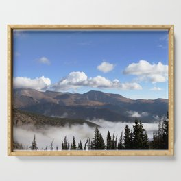 Watercolor Landscape, Trail Ridge Road 02, RMNP, Colorado Serving Tray