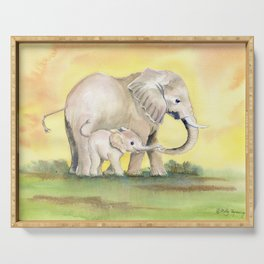 Colorful Mom and Baby Elephant 2 Serving Tray
