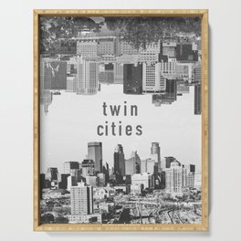 Twin Cities Minneapolis and Saint Paul Minnesota Skylines Serving Tray