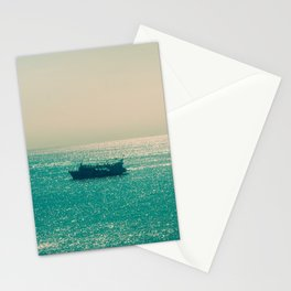 Endless Horizon. Boats Sailing into the Sea. Vintage Photography. Stationery Cards