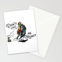 """Don't Call Me Honey"" Cowgirl On Horseback Shooting a Rattlesnake Stationery Cards"