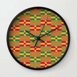 Bright Kente Cloth 1 Wall Clock