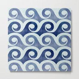 Retro Tropical Beach Waves - Indigo Blue Woodblock Metal Print