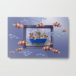 Clownfishes Frame Underwater Grey cat Design Metal Print