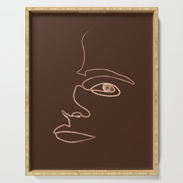 Distortions - Minimal Abstract Face - Single Stroke Portrait Serving Tray