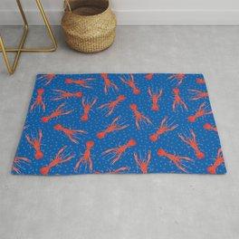 Lobster Pattern on Cobalt Blue Rug