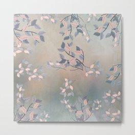 Blue Watercolor Woodland Leaves Metal Print