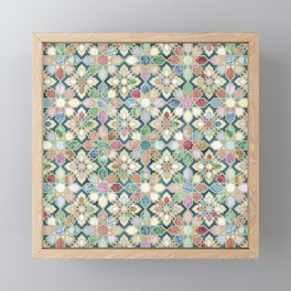 Muted Moroccan Mosaic Tiles Framed Mini Art Print