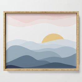 minimalist vector illustration of calm indigo sunset Serving Tray