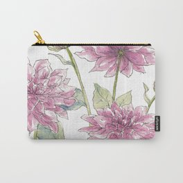 Magenta Dahlias Illustration Carry-All Pouch