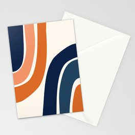Abstract Shapes 35 in Burnt Orange and Navy Blue Stationery Cards
