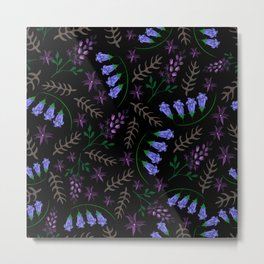 Wildflowers on black background. Metal Print
