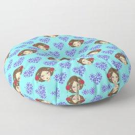 Beautiful boho girl dolls, pretty floral hearts feminine artistic romantic nursery pattern Floor Pillow
