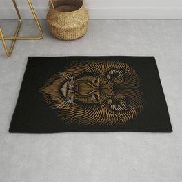 Lion Head - Line Art Grapic - Animal Drawing Rug