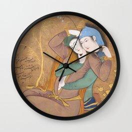 The Lovers by Riza‑yi 'Abbasi, 17th Century Wall Clock