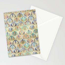 Autumn Neutrals Vintage Twenties Art Deco Pattern Stationery Cards