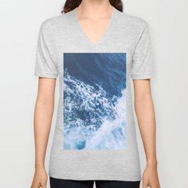 Blue and White Ocean Waves Unisex V-Neck