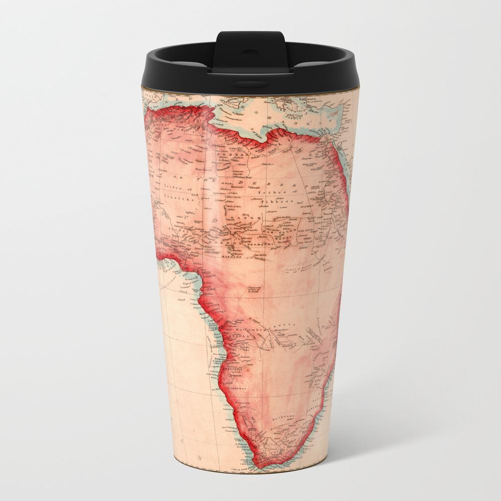 Map Of Africa 1844 Metal Travel Mug by Lydiadavid MTM8035210